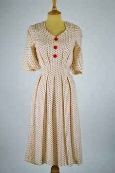1940s vintage dress CC41 ivory moygashel red spots tie belt front