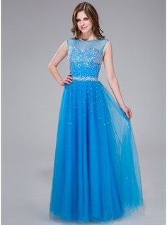 A-Line Princess Scoop Neck Floor Length Tulle Prom Dress With Beading Sequins 017041113 g41113