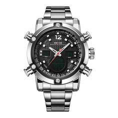 Analog Stainless Steel Wrist Watches Men Quartz Digital Dual Movement Date Alarm Stopwatch Big Dial Display Luxury Items Mens Sport Watches, Luxury Watches For Men, Men's Watches, Wrist Watches, Cartier, Skeleton Watches, Omega Seamaster, Stainless Steel Watch, Digital Watch