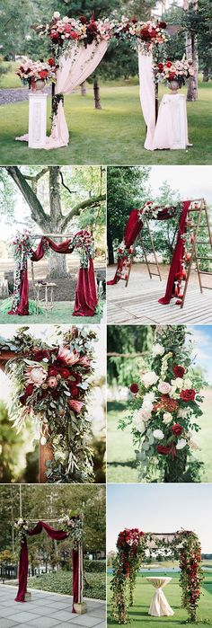 outdoor chic burgundy wedding arch decoration ideas #weddingcolors #weddingthemes #fallweddings #weddingideas #burgundywedding #weddinginspiration #weddingdecor #weddingcakes #weddingcenterpieces #weddingflowers