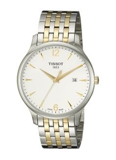 Tissot Men's T0636102203700 Tradition Analog Display Swiss Quartz Two Tone Watch. Two tone stainless steel bracelet watch with white dial and gold hands. Scratch resistant and anti-reflective sapphire crystal. Swiss-quartz Movement. Case Diameter: 42mm. Water Resistant To 99 Feet.