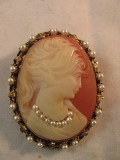 Beautiful Antique Pearl Cameo Pin or Pendant