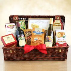 Wine Country Holiday Picnic-Transport them to a sunny meadow with this festive picnic hamper with everything needed for a special feast. They will toast with two bottles of California wine- one Cabernet Sauvignon and one Chardonnay. They will feast u Holiday Gift Baskets, Christmas Baskets, Holiday Gifts, Christmas Holidays, Christmas Gifts, Wine Country Gift Baskets, Gourmet Gift Baskets, Cheese Crisps, Chocolate Squares