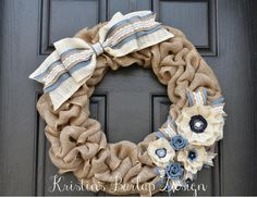READY TO SHIP Denim & Lace Spring Burlap by KristinsBurlapDesign