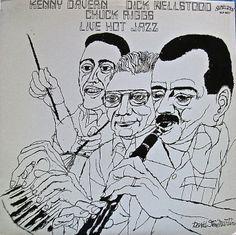 Kenny Davern, Dick Wellstood, Chuck Riggs-Live Hot Jazz, label: Statitas SLP 8077 (1986) Design: David Stone Martin