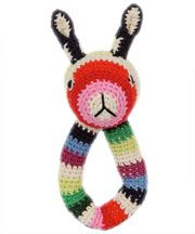 Multi Stripe Crochet Rabbit Ring Rattle, Anne Claire Petit you could make SO MANY creations from this pattern! :) a puppy, duck, cat, giraffe, etc!