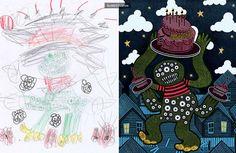 40名藝術家將兒童怪獸塗鴉重畫一次後,證明小孩子的想像力比大人豐富多了! - boMb01