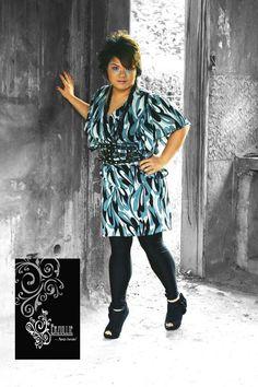 Erzullie plus size, v-neck, ruffle dress. Holiday 2010