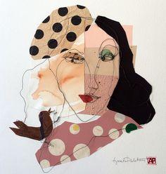 Mixed media. Wire portrait in one piece with paper collage. Size 50x50 cm. Title Bernadette. Artist Agneta Pihlström
