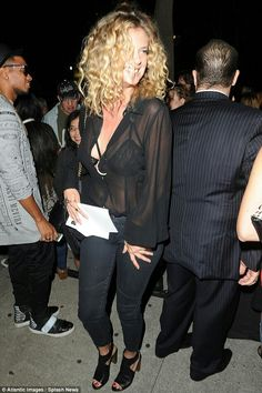 Wow thing: Throwing a chiffon blouse over the top of her bra, the former wife of rocker Rod Stewart looked pretty pleased with herself as she made her way inside the venue Rachel Hunter, See Through Blouse, Over The Top, Sheer Blouse, How To Look Pretty, Chiffon, Rod Stewart, Bra, Couple Photos
