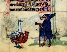 Detail of a marginal image of a fox preaching to two roosters and a duck.  Stowe 17 f. 84 Fox preaching   http://www.bl.uk/catalogues/illuminatedmanuscripts/ILLUMIN.ASP?Size=mid&IllID=410