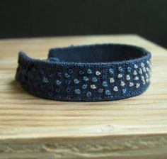 Blue Ombre Hand Embroidered Cuff Bracelet - Gradient French Knots Embroidered on Blue Linen