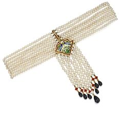 NATURAL PEARL, GOLD, ENAMEL AND ONYX COLLIER DE CHIEN, CIRCA 1900