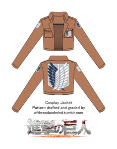 For all your titan-slashing cosplay needs, this is a pattern of the popular military jacket from the seinen series ATTACK ON TITAN / SHINGEKI NO KYOJIN!  The pattern was drafted and graded by myself and designed to be relatively easy to be sew. It sent via email as a .PDF file for you to print and