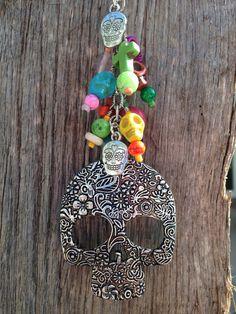 Sugar Skull Car Charm, Rearview Mirror, Car Accessory Day of the Dead, Día de Muertos, All Saints Day