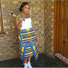 Tsonga Traditional Dresses Designs For Wedding. In the traditional dress makes a woman of elegance. Showing ethnic and unique.One of the tsonga Venda Traditional Attire, Tsonga Traditional Dresses, Traditional Dresses Designs, African Traditional Wedding Dress, Traditional Wedding Attire, Traditional Outfits, African Shirts, African Print Dresses, African Fashion Dresses