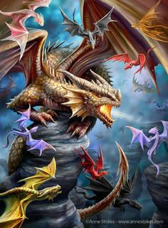 Ddraig: Eurographics puzzles Dragon Clan by Anne,Stokes. Finished Puzzle Size: x Beautiful Dragon, Beautiful Fantasy Art, Dark Fantasy Art, Fantasy Artwork, Anne Stokes, Magical Creatures, Fantasy Creatures, Dragon Dreaming, Dragon Artwork