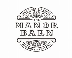 """Great logo for """"Manor Barn"""" Creative use of a nice font with decor around it."""