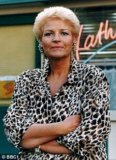 Pam St Clement as Pat Butcher in EastEnders, working the leopard print and giant earring look, the oritginal trend setter! Eastenders Cast, Eastenders Actresses, Sheepskin Ugg Boots, Tv Icon, Soap Stars, Watch Tv Shows, Hollyoaks, British Actresses, Favorite Tv Shows