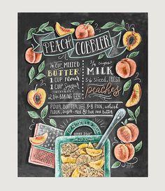 Impresión arte de la cocina durazno melocotón por LilyandVal