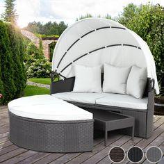 Miadomodo Polyrattan Sun Lounger with Foldable Roof (152/145/69.5-145 cm) Day Bed Garden Sofa Patio Terrace Furniture (Grey): Amazon.co.uk: Garden & Outdoors