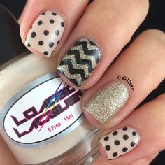 Chevron and polka dot with glitter