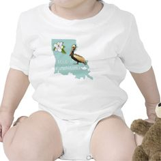 Made in Louisiana Infant Creeper #baby #romper #creeper #infant #jersey #cotton #pelican #magnolia   #Louisiana #onesie