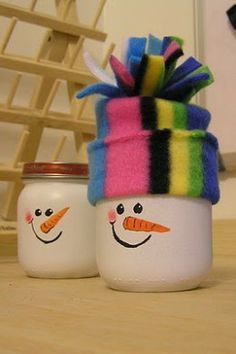 Paint baby food jars white  add snowman face. Create a felt hat (or made from a baby's sock). When you unscrew the top, it makes a great gift box. Add some candy for a creative gift for bus driver, teacher, or secret santa.