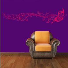Amazon.com - BUTTERFLY & MUSIC NOTES VINYL WALL STICKER ART HOME ROOM DECOR DECAL REMONABLE (Rose red)