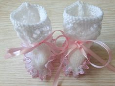 Baby girl lacy white and pink bootees by KatiekittykatXx on Etsy