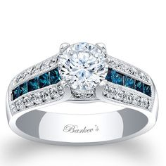 Barkev's 14K White Gold Sophisticated Vintage Three Row Diamond Engagement Ring Featuring 0.92 Carats Round and Princess Cut Blue Diamonds. Style 6335LBDW
