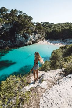 HBGOODIE.COM / #Menorca is a little island off the coast of #Spain in the #Mediterranean ! It's absolute paradise with the bluest water I've ever seen, pristine #beaches, amazing food, stunning coast, and lovely hotels. On our summer #Europe trip I only wish we had stayed longer! #tropical #summer #vacation #holiday #swimsuit #longhair