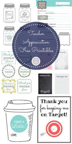 Several #teacherappreciation free printables to use year-round! #thankateacher