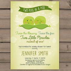 twin baby shower invitation two peas in a pod by