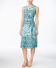 Charter Club Petite Printed Fit & Flare Belted Dress, Only at Macy's - Dresses - Women - Macy's
