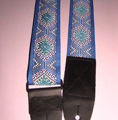 Blue-White-Teal Embroidered Trim GUITAR by ScentedSoftandSewn