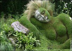 Garden of Dreams. Moss covered garden sculpture of woman sleeping. Garden Whimsy, Garden Art, Mother Earth, Mother Nature, Bush Garden, Covered Garden, Lisa, Backyard Paradise, Chelsea Flower Show