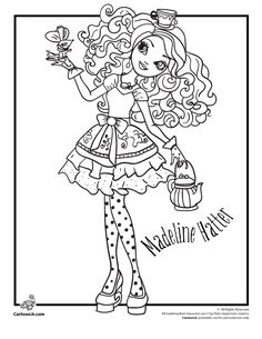 Apple White And Raven Queen Free Coloring Page