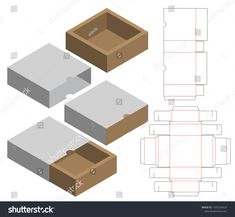 Find Box Packaging Die Cut Template Design stock images in HD and millions of other royalty-free stock photos, illustrations and vectors in the Shutterstock collection. Packaging Nets, Box Packaging Templates, Packaging Box, Diy Gift Box, Diy Box, Die Cut Boxes, Paper Box Template, Packaging Design Inspiration, Packing Box Design