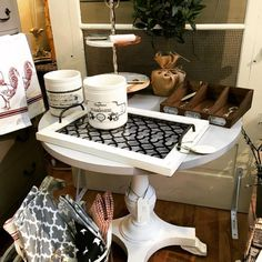 Loving this beautifully painted pedestal table! Retail Shop, V60 Coffee, Pedestal, Kitchen Appliances, It Is Finished, Table, Home, Diy Kitchen Appliances, Home Appliances