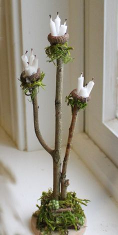 Mini garden Accessories - Fairy Accessories ~ Candle Stand Handcrafted by Olive. Fairy Garden Furniture, Fairy Garden Houses, Fairies Garden, Gnome Garden, Fairy Crafts, Garden Crafts, Garden Ideas, Fairy Figurines, Fairy Garden Accessories