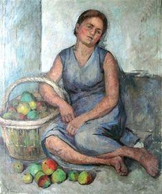 """Henriette Tirman (1875-1952) """"Fille au panier de pommes"""". Oil on canvas 116 x 96 cm. (45.7 x 37.8 in.) Post-Impressionism."""