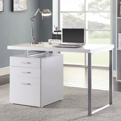 Modern Glossy White Vanity Table with Reversible Storage Base