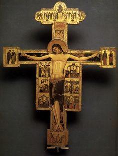 Τίτλος έργου: Εσταυρωμένος (Σταυρός αρ. 20) Καλλιτέχνης: Άγνωστος βυζαντινός καλλιτέχνης Χρονολόγηση: 1210-1230 περίπου Υλικό: Περγαμηνή σε καμβά, αυγοτέμπερα, χρυσός, ξύλο Διαστάσεις: 2,97 x 2,34 μ...