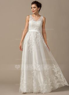 A-Line/Princess V-neck Floor-Length Tulle Wedding Dress With Appliques Lace (002068149) - JJsHouse