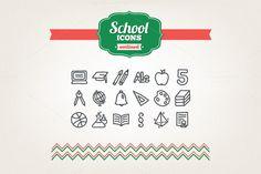 Hand drawn school icons by miumiu on Creative Market