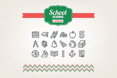 Hand drawn school icons by miumiu on Creative Market