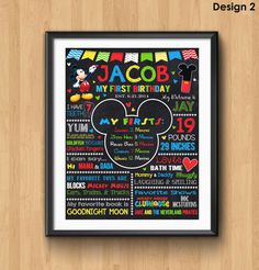 Mickey Mouse First Birthday Chalkboard Sign by KidsPartyPrintables