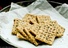 Rosemary Crackers    1 cup cashews, ground into flour  1 cup almonds, ground into flour  3 teaspoons rosemary  1 teaspoon dried garlic  1/3 cup flax, ground  1/2 cup water  Himalayan salt and pepper to taste (just a tiny pinch will do)