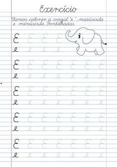 Atividade Vogal E pontilhada para imprimir Alphabet Tracing Worksheets, Grande Section, Learning Spanish, Learning Activities, Homeschool, Lettering, Writing, Photos, Letter M Activities